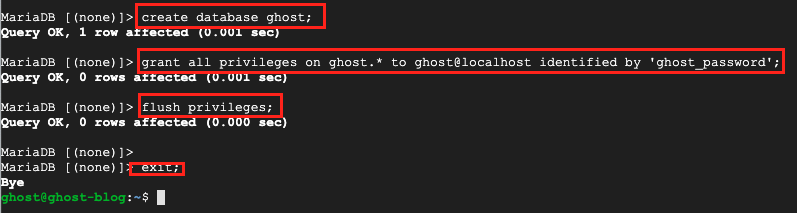 Create Ghost Database
